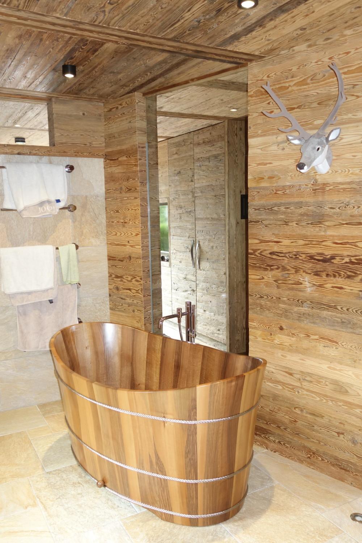 Freistehende Holz Badewanne Hinoki Holzkollektion