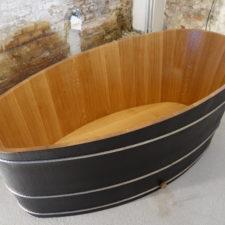 Holzbadewanne Eiche, geflemmt, gebürstet und geölt